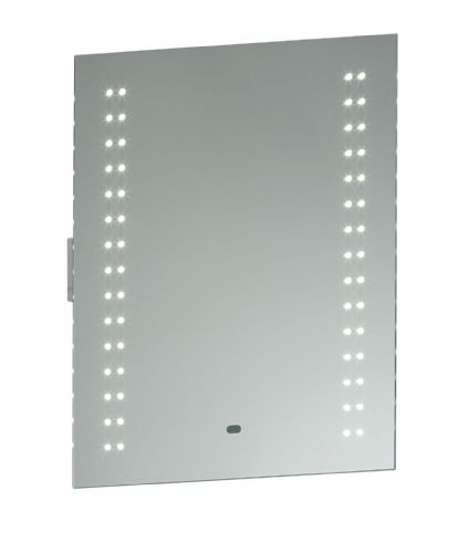 LED Mirrored glass & matt silver effect paint IP44 Bathroom Mirror Light + Shaver Socket 13760